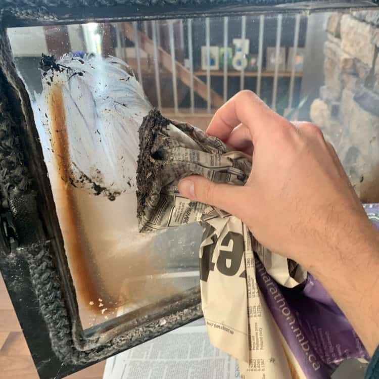 Step 4 to Cleaning Fireplace Glass