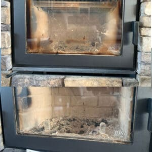 before and after fireplace glass cleaner