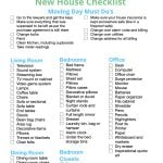 free new house checklist