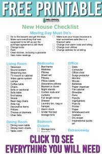 free new house checklist