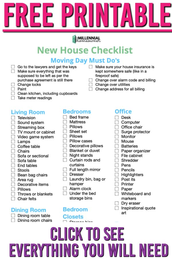 free printable new house checklist