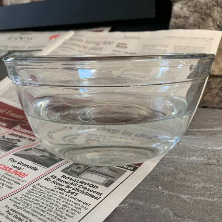 step 2 to cleaning fireplace glass_ bowl of water