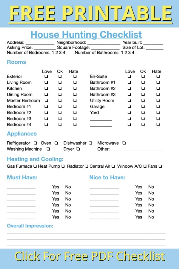 free pdf house hunting checklist