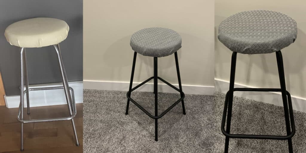 reupholstered bar stool before and after