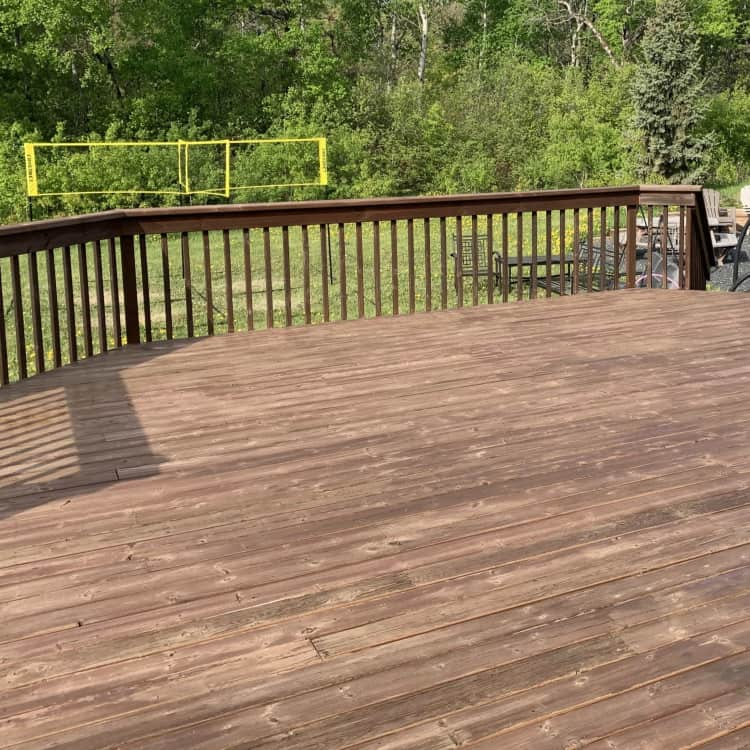 after restaining a deck picture with teak cloverdale sharkskin stain