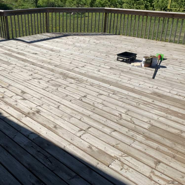 before restaining a deck picture