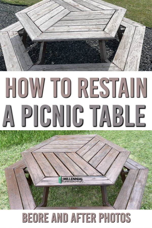 how to restain picnic table