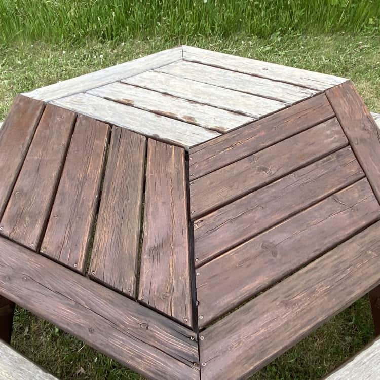 staining picnic table before and after