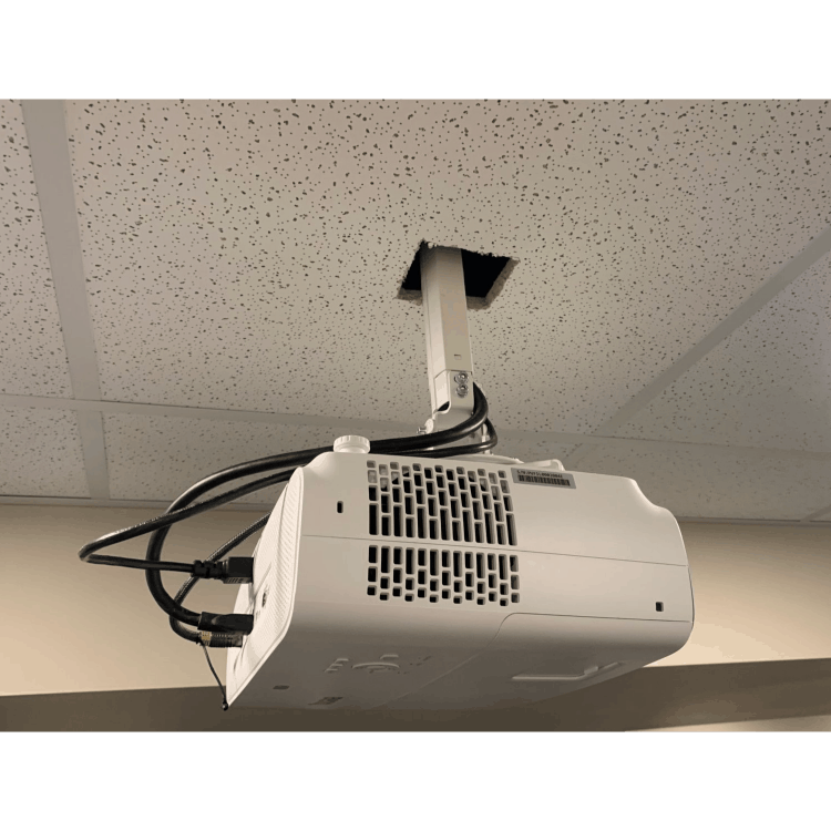 side view of benq tk850 projector with cables