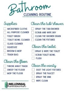 Bathroom Cleaning Checklist