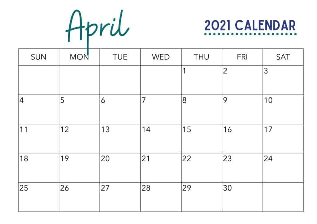 April 2021 Calendar Printable