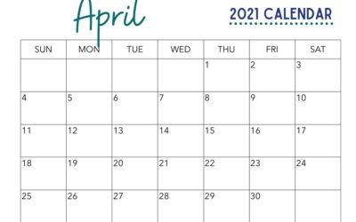 Free April Calendar Printable