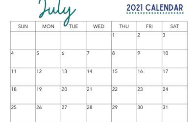 July Calendar Printable Free!
