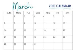 March 2021 Calendar Printable