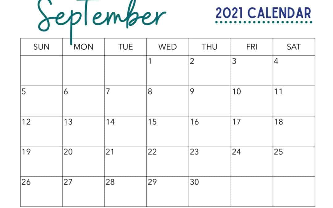 Free September Calendar Printable