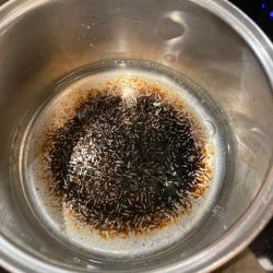 Pot with burnt food at the bottom