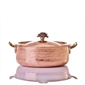 Amoretti Brothers copper casserole with flower lid